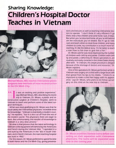 Dr. Moses in Small World Magazine