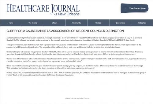 Healthcare Journal New Orleans ENews